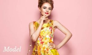 Model in Yellow Floral Dress and Red Lipstick